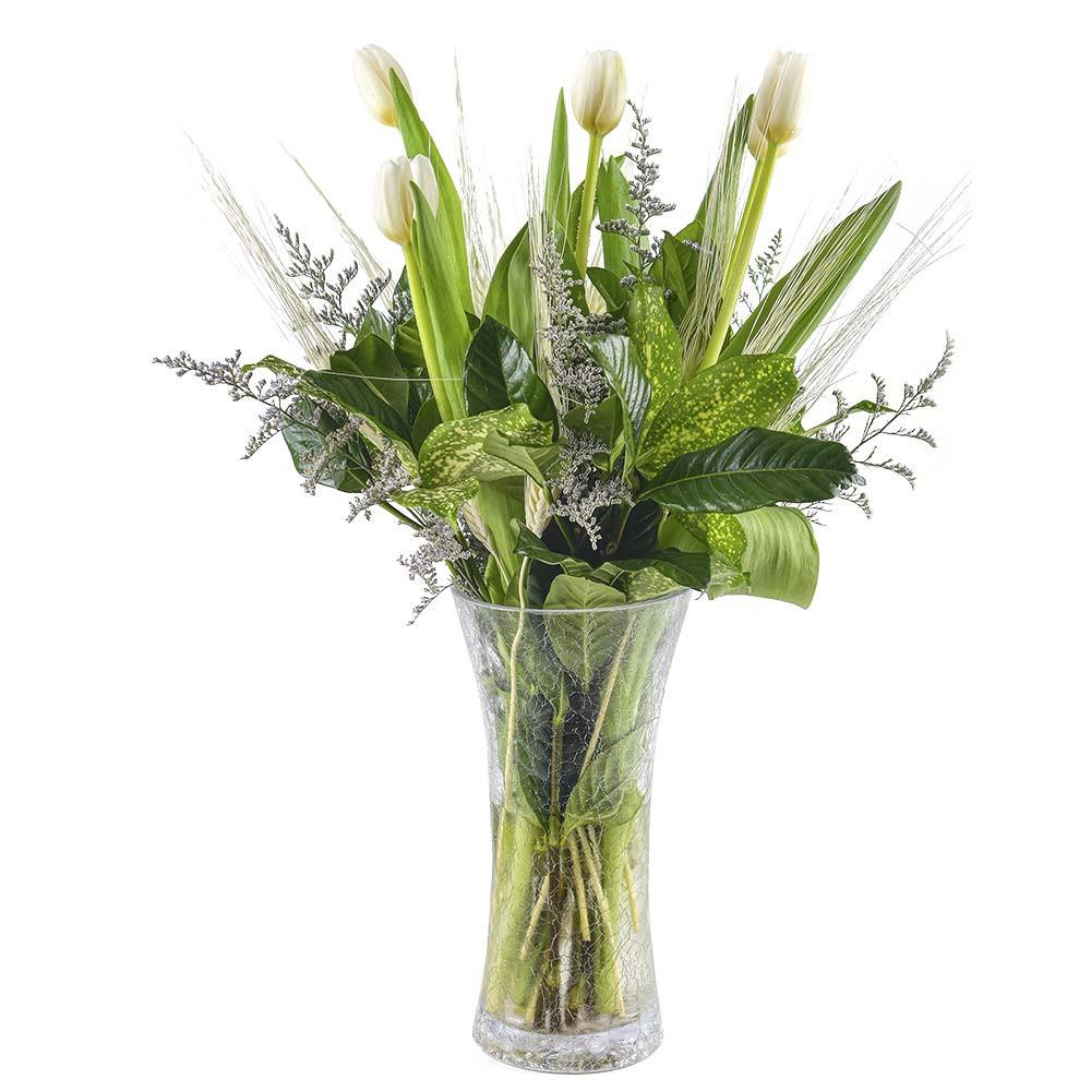 Florero de vidrio con 7 tulipanes blancos y follajes Recuerdos Rosatel