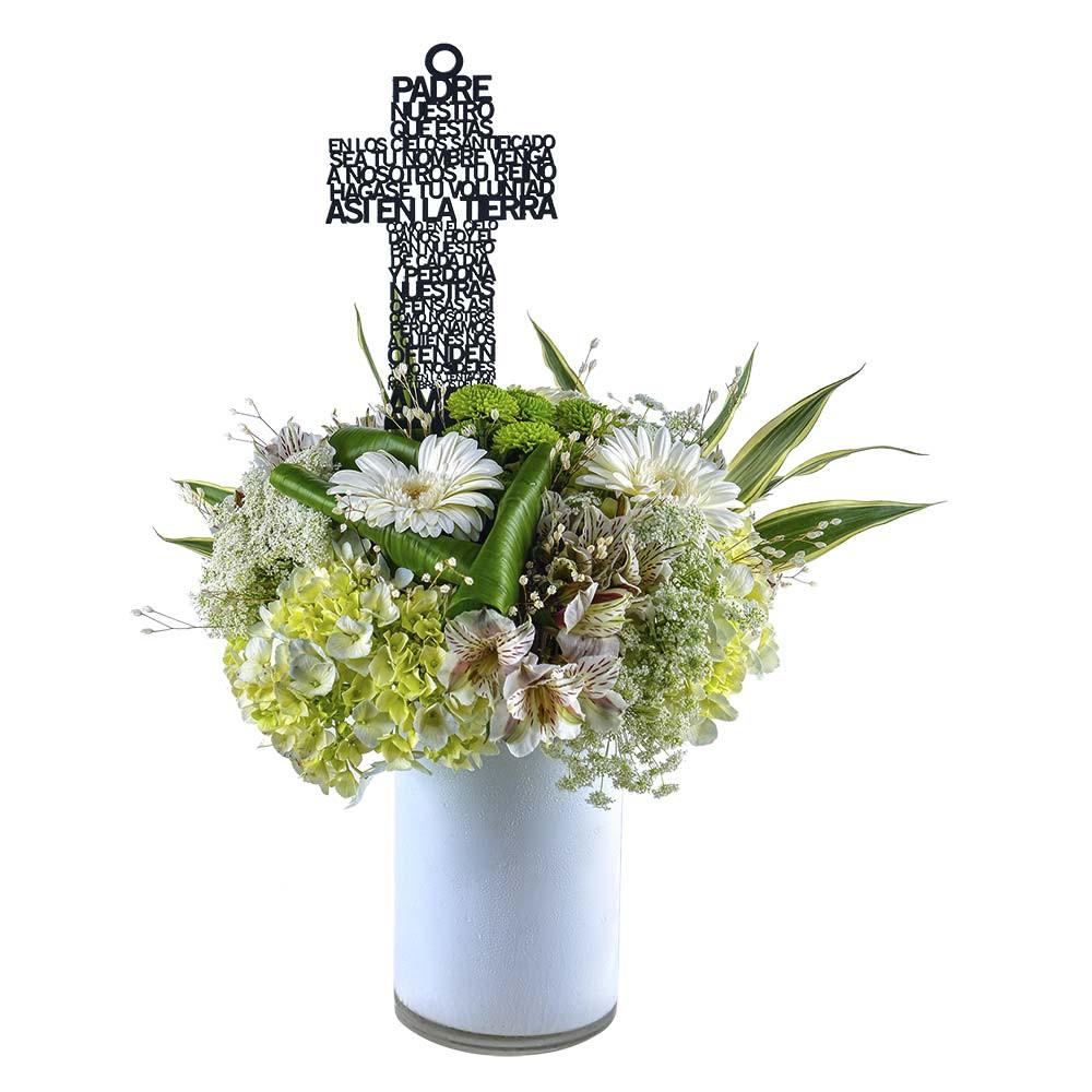 Florero con Flores y Varilla con Padre Nuestro Recuerdos Rosatel