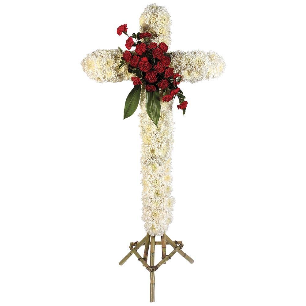 Cruz grande con pompos, 40 claveles y follaje Recuerdos Rosatel