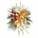 Lágrima con 6 rosas rojas, liliums, gerberas y otras flores Recuerdos Rosatel