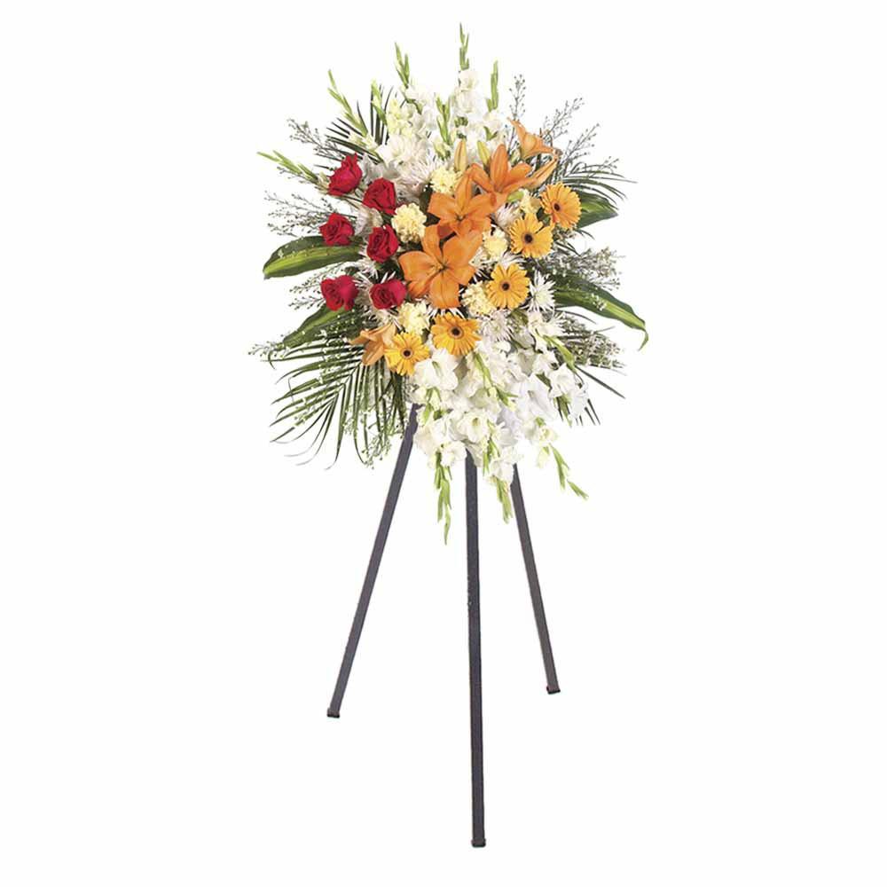 Lágrima con 6 rosas rojas, liliums, gerberas y otras flores con trípode Recuerdos Rosatel