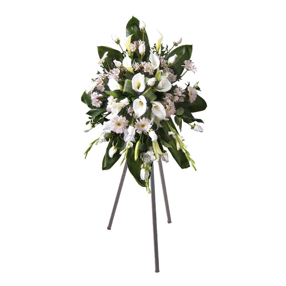 Lágrima con 12 rosas cremas, cartuchos, gladiolos, gerberas y astromelias con trípode Recuerdos Rosatel