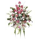 Lágrima sin trípode con 12 rosas, anturios y otras Recuerdos Rosatel