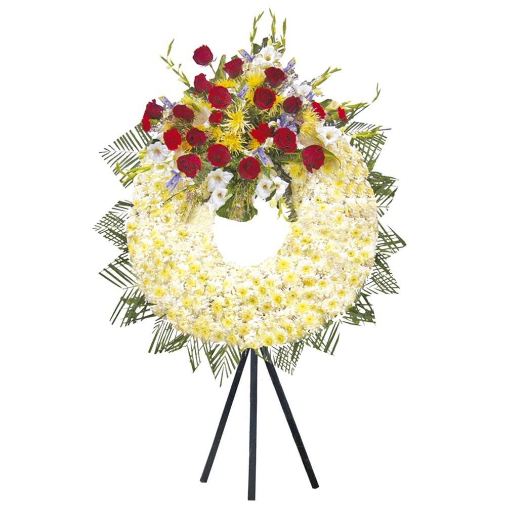 Corona con 18 rosas, calas y otras flores con trípode Recuerdos Rosatel