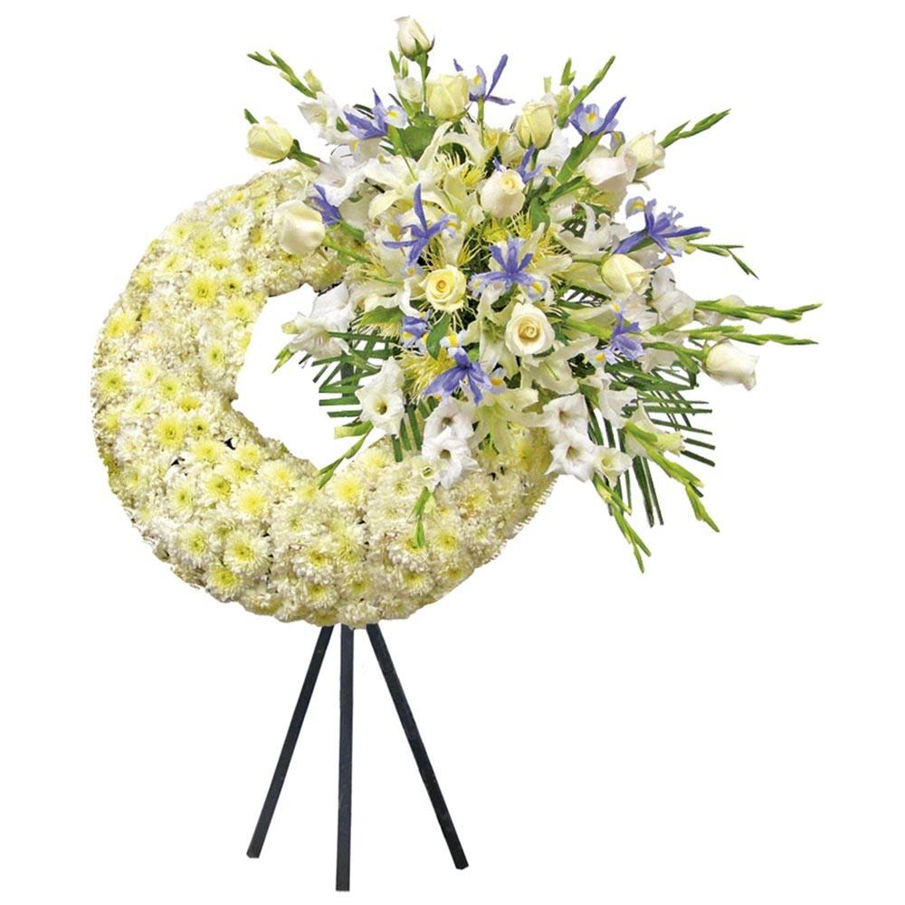 Corona Grande con 12 rosas, Pompos y Flores Recuerdos Rosatel
