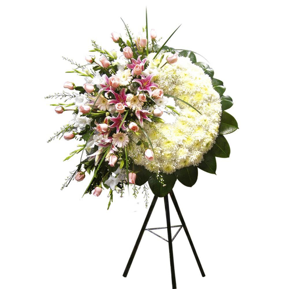 Corona de pompos con 24 rosas y otras flores en trípode Recuerdos Rosatel