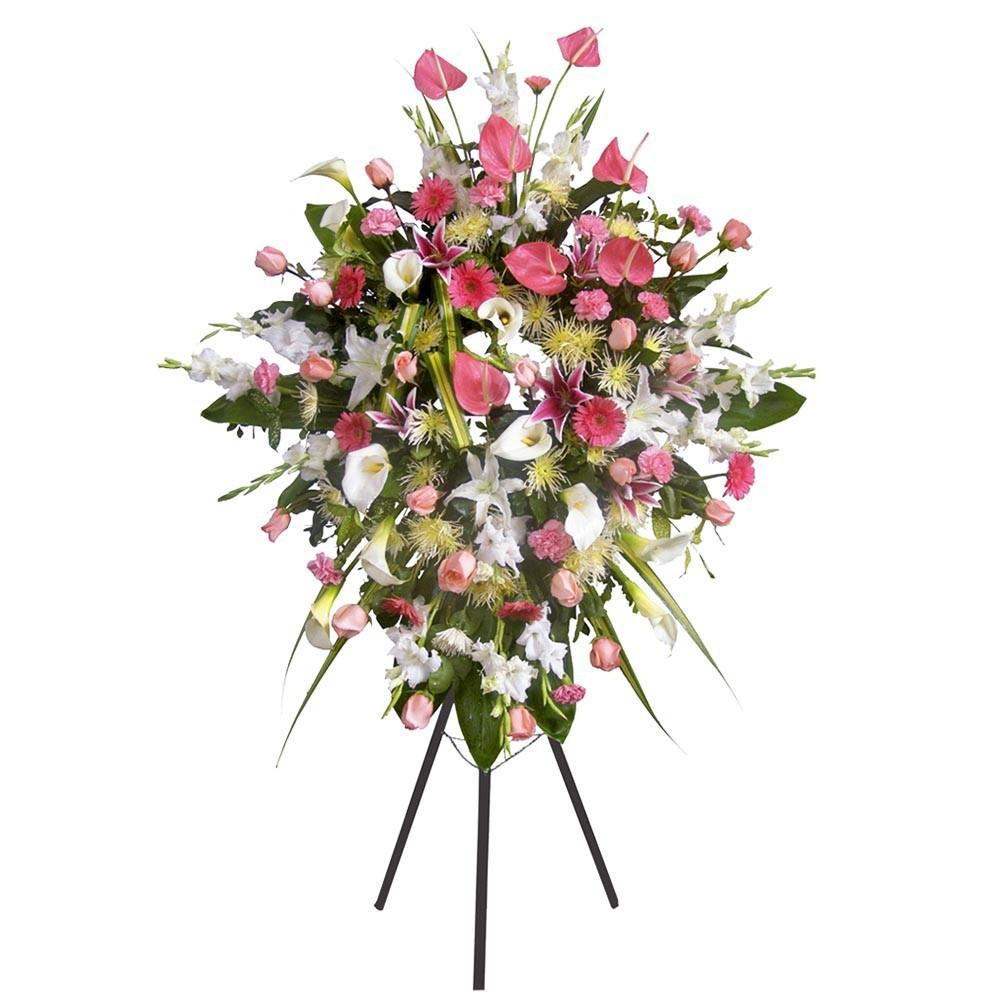Corona con 18 rosas, calas, anturios y otras flores Recuerdos Rosatel