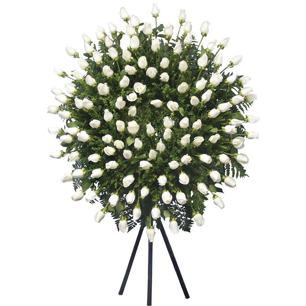 Corona Grande con 120 Rosas y Follaje Recuerdos Rosatel