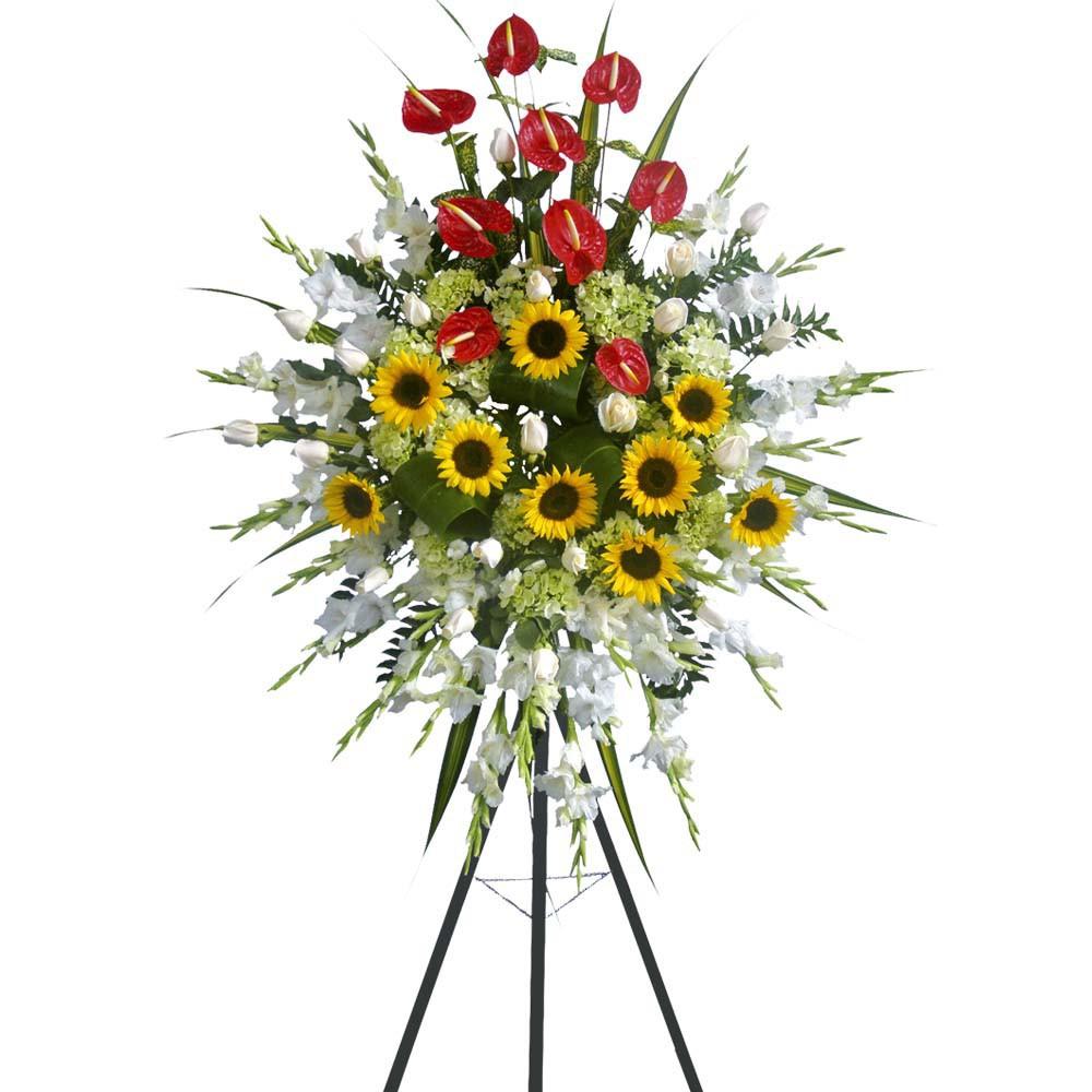 Corona Grande con 24 Rosas, Girasoles y Anturios Recuerdos Rosatel