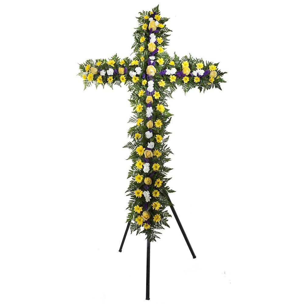 Cruz grande con 12 rosas amarillas, claveles y margaritas en trípode Recuerdos Rosatel