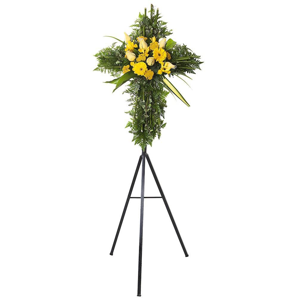 Cruz pequeña con 6 rosas amarillas, iris, achileas y gerberas en trípode Recuerdos Rosatel