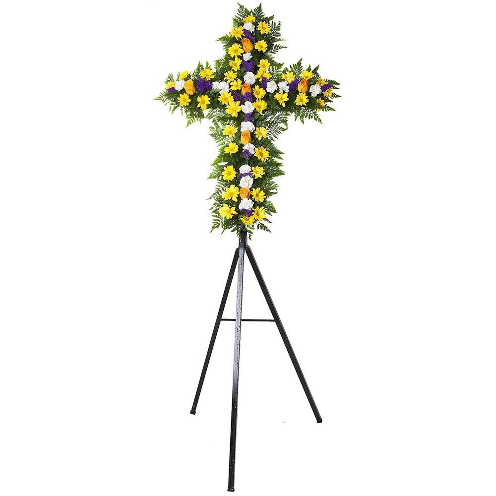 Cruz pequeña con 6 rosas amarillas, claveles y estátice en trípode Recuerdos Rosatel