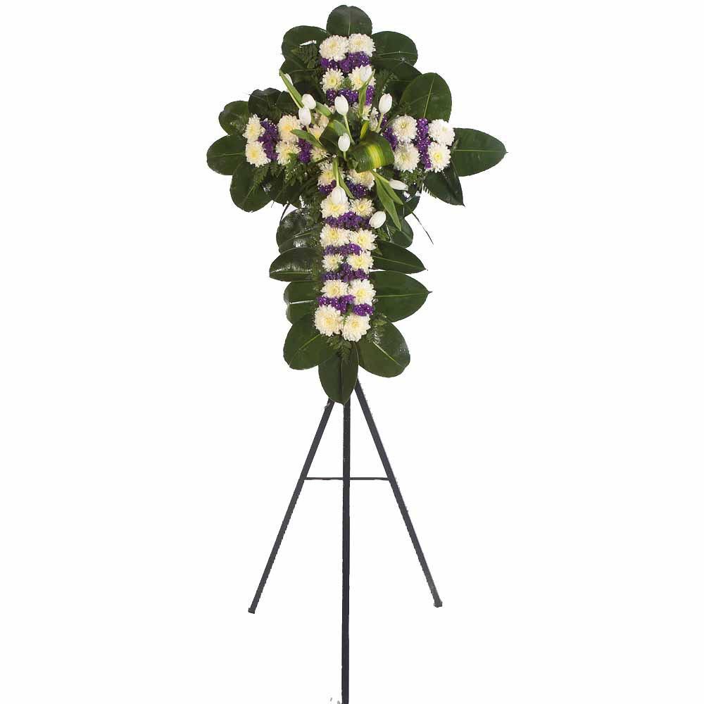 Cruz pequeña con 10 tulipanes blancos, crisantemos y estátice en trípode Recuerdos Rosatel