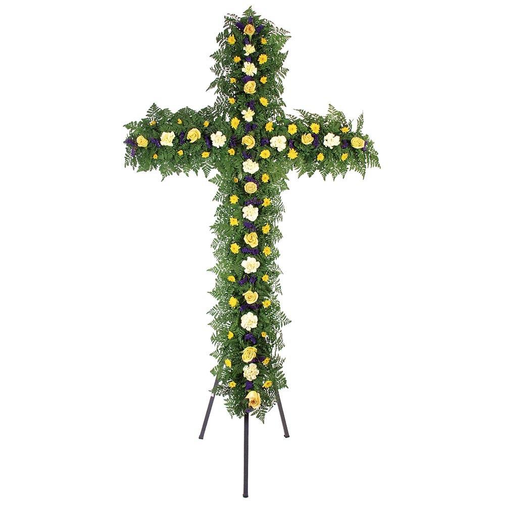Cruz grande con 12 rosas, claveles, margaritas y follaje en trípode Recuerdos Rosatel