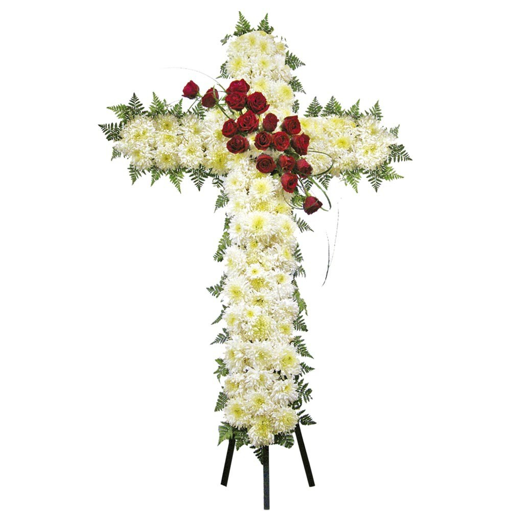 Cruz grande con 18 rosas, crisantemos en trípode Recuerdos Rosatel