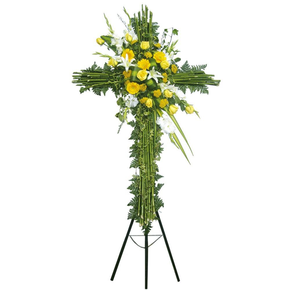 Cruz grande con 10 rosas, gerberas, achileas, bambú en trípode Recuerdos Rosatel