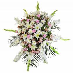 Lágrima sin trípode con gladiolos blancos, astromelias rosadas y flores varias