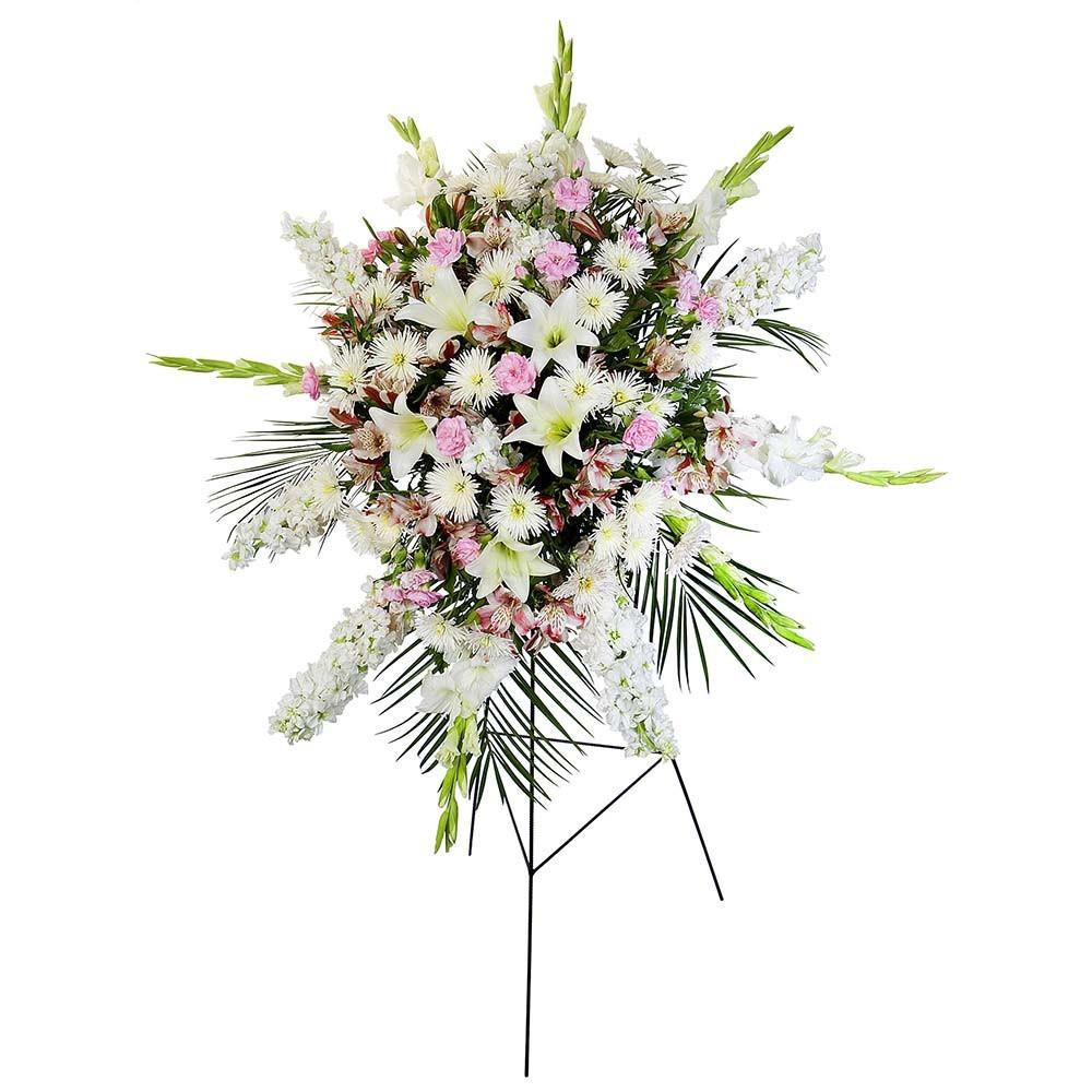 Lágrima c/ trípode con gladiolos blancos, astromelias rosadas y flores varias Recuerdos Rosatel