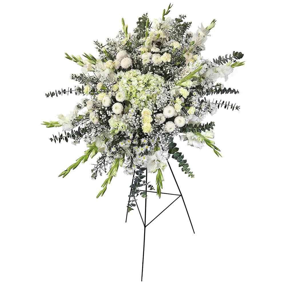 Lágrima c/ trípode con gladiolos, hortensias, clavelines y flores varias Recuerdos Rosatel
