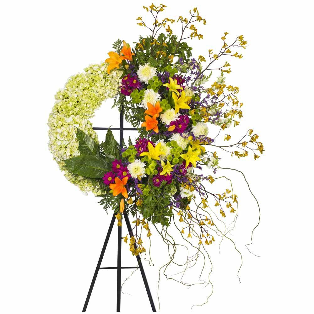 Corona Grande con Liliums y Flores Recuerdos Rosatel