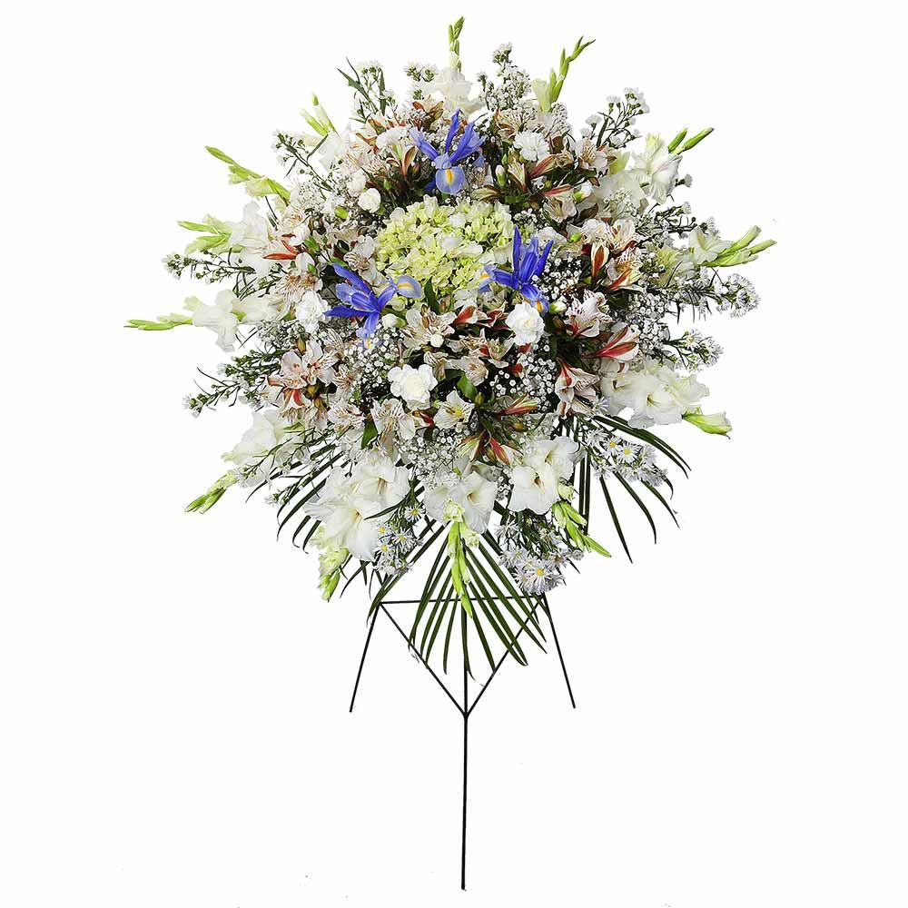 Lágrima c/trípode con gladiolo, hortensia, iris azul y flores varias Recuerdos Rosatel
