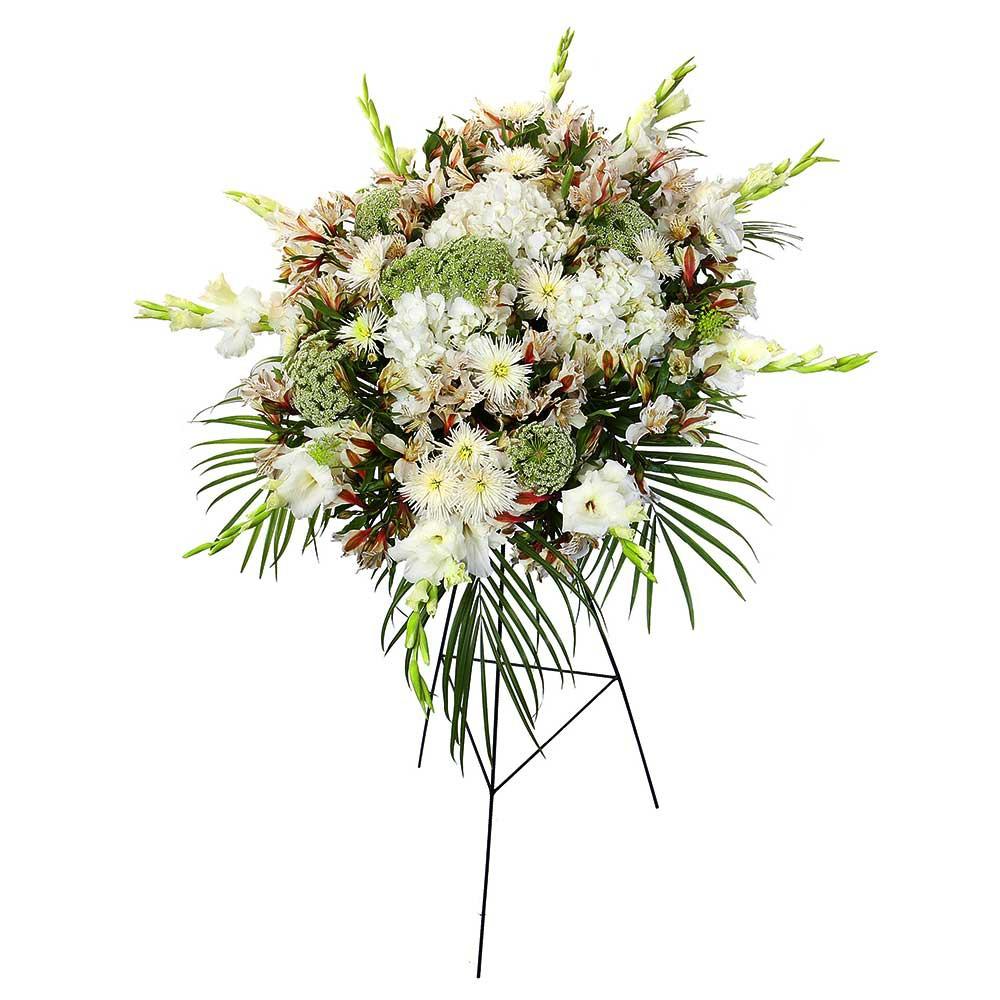 Lágrima c/ trípode con gladiolos, astromelias copo de nieve y flores varias Recuerdos Rosatel