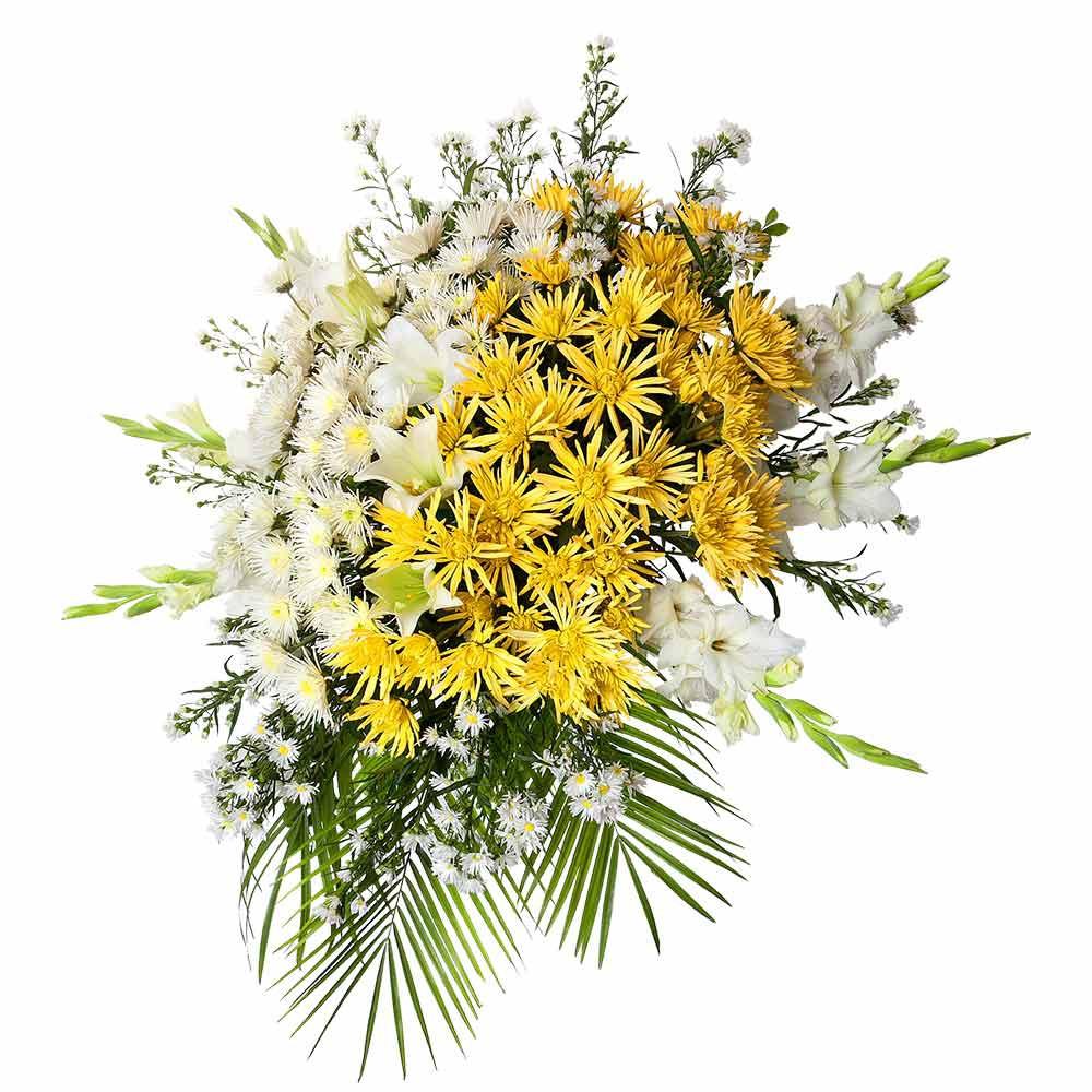 Lágrima s/trípode con gladiolo montecasino araña y flores varias Recuerdos Rosatel