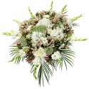 Lágrima sin trípode con gladiolos, astromelias copo de nieve y flores varias Recuerdos Rosatel