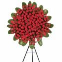 Corona Grande con 120 Claveles Rojos y Follaje Recuerdos Rosatel