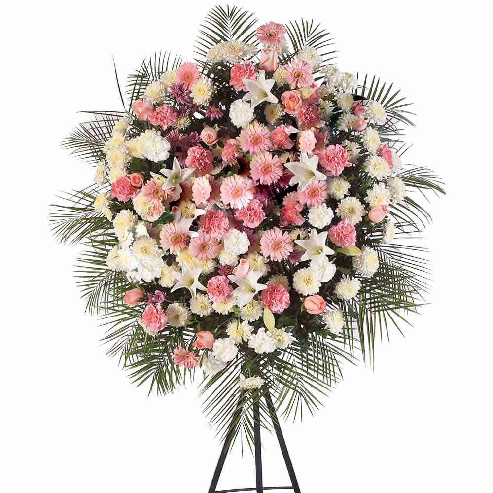 Corona Grande con 15 Rosas Rosadas, Claveles y Gerberas Recuerdos Rosatel