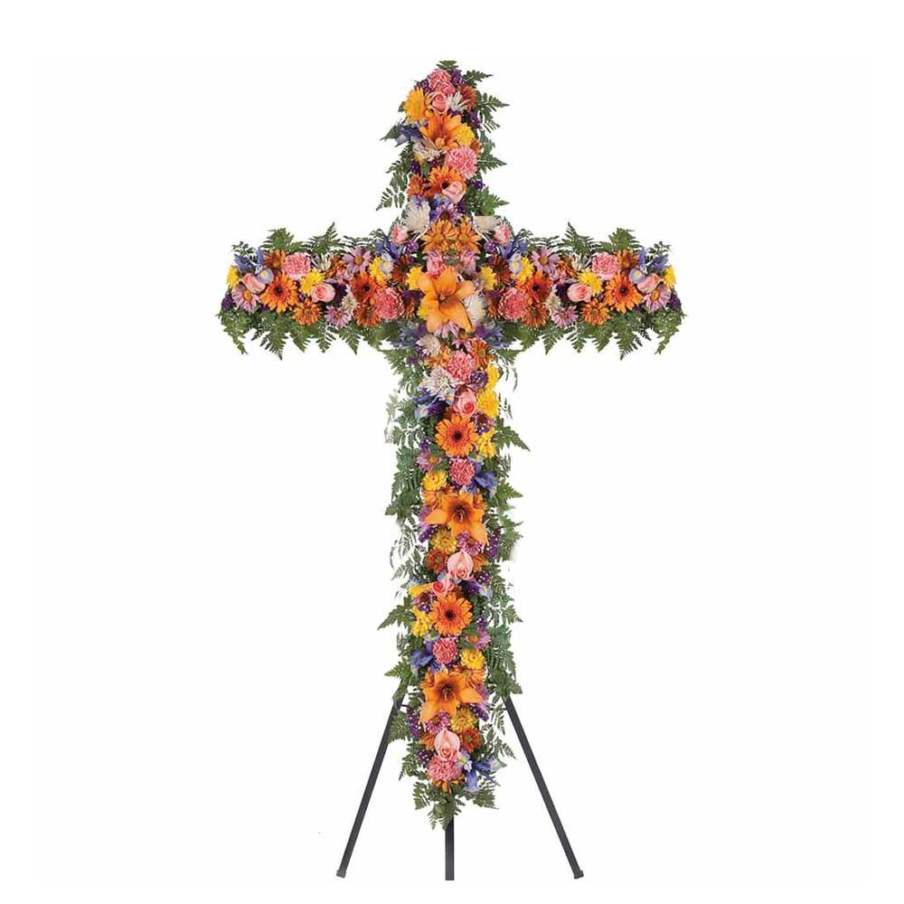 Cruz grande con 9 rosas y flores variadas de colores en trípode Recuerdos Rosatel