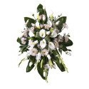 Lágrima con 12 rosas cremas, cartuchos, gladiolos, gerberas y astromelias Recuerdos Rosatel