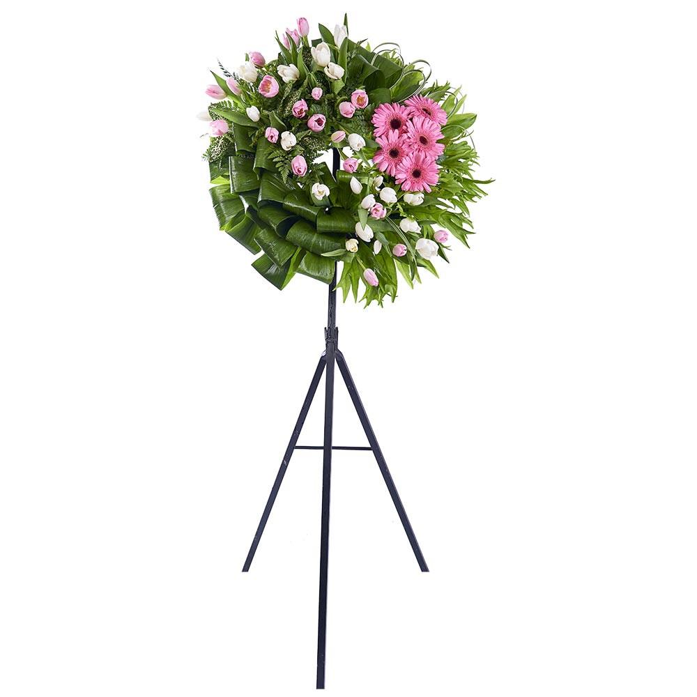 Corona Pequeña Tulipanes Blancos y Rosados, Gerberas y Follaje Recuerdos Rosatel