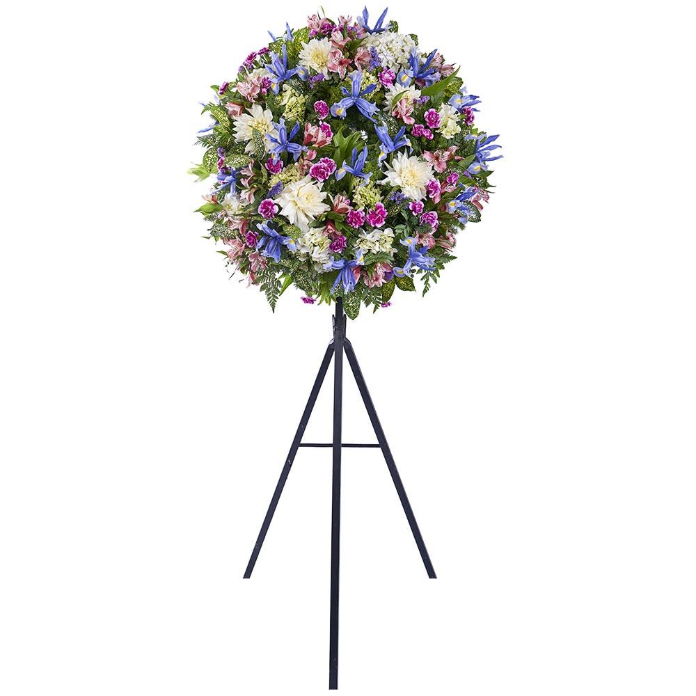 Corona pequeña con Iris, Dalias, Astromelias y Flores Recuerdos Rosatel