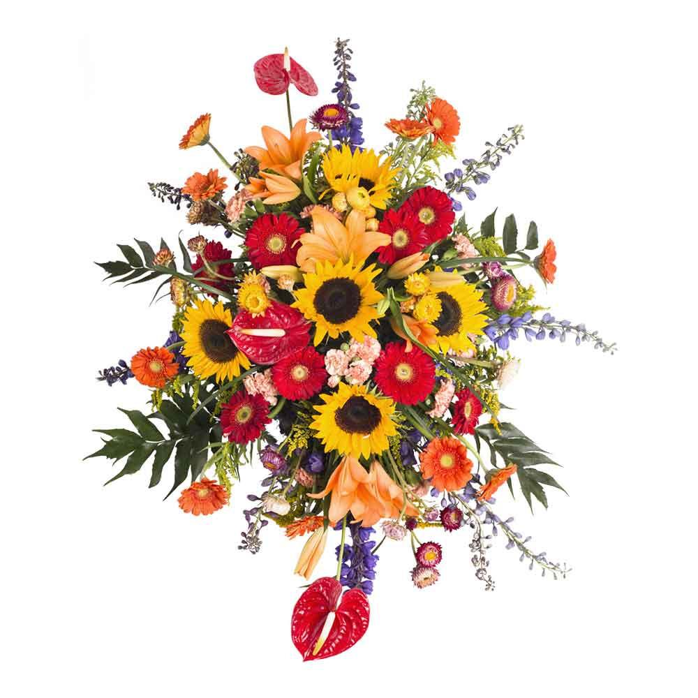 Lágrima sin trípode con gerberas, girasoles y flores variadas Recuerdos Rosatel
