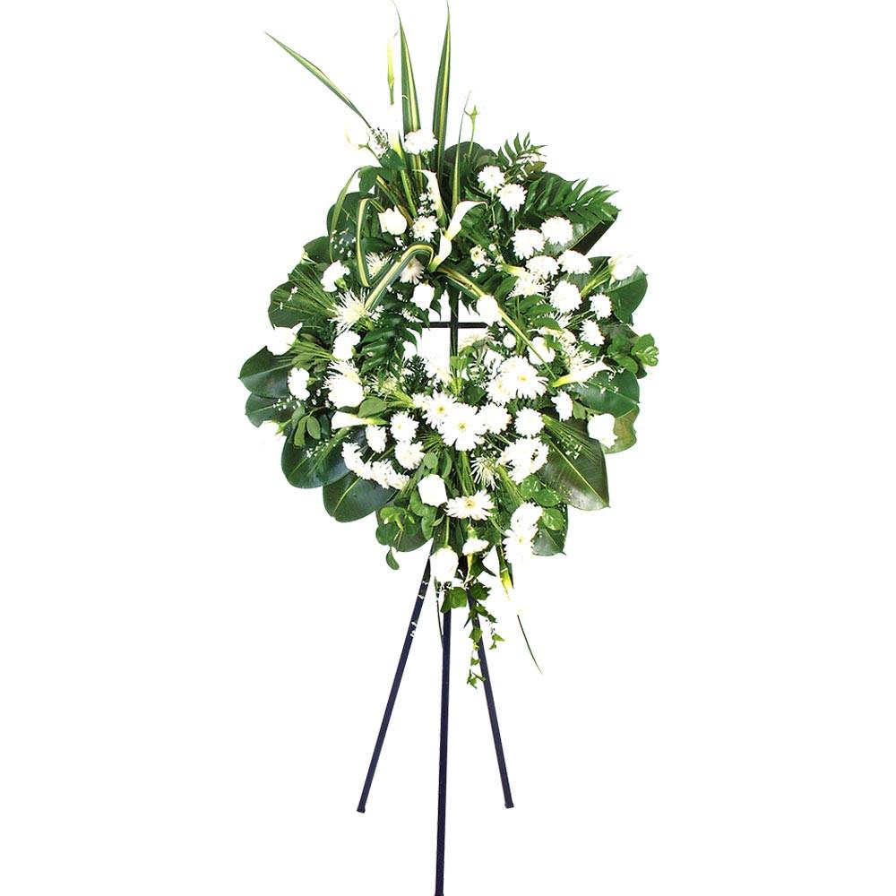 Corona con 12 rosas, claveles, gerberas, calas y otras flores con trípode Recuerdos Rosatel