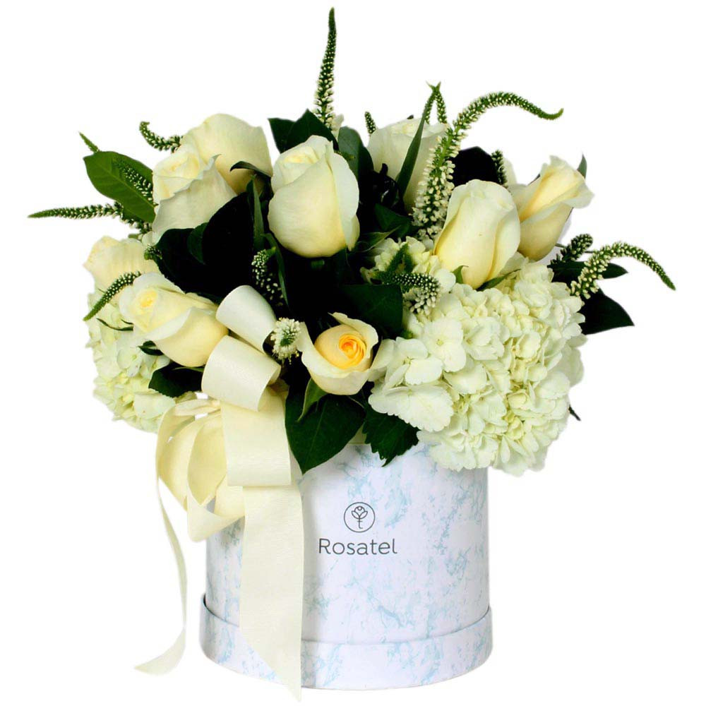 Sombrerera blanca marmoleada con 10 Rosas y Flores Rosatel