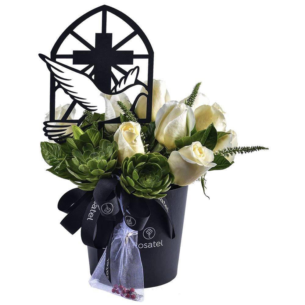 Sombrerera Negra con Rosas y Varilla Paloma de la Paz Recuerdos Rosatel